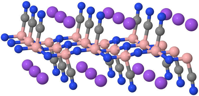 Image of the -CN group functionalized h-BN with intercalated Na ions.
